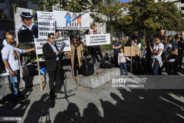 Friends and relatives of the French gendarme Myriam Sakhri found dead on 2011, gather during a protest to demand a new investigation in front of the...