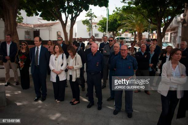 Friends and relatives some of them wearing the uniform of the 'Falange Española de las JONS' fascist political party attend the funerals for former...