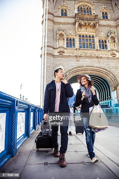 Friends arriving in Central London for a vacation