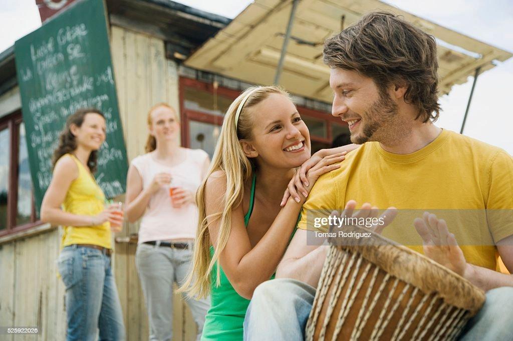 Friends at a Beach Bar : Stock Photo