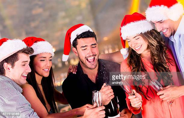 Friends at a Christmas party