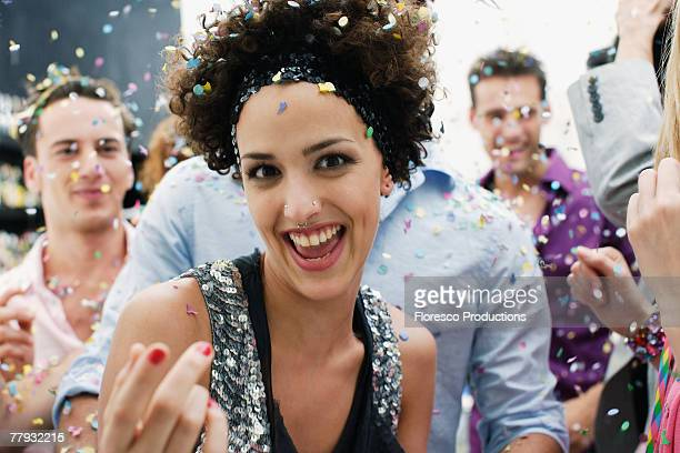 friends at a party with confetti - body modification stock photos and pictures