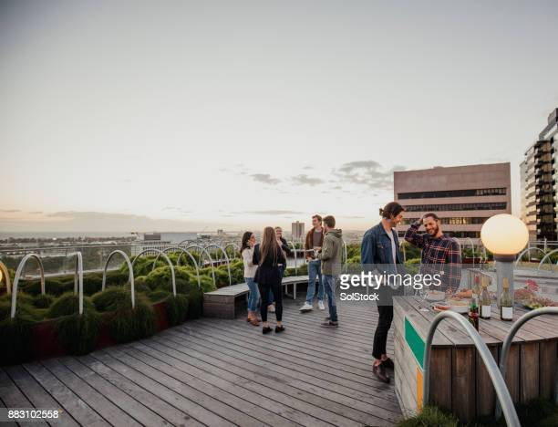 Friends at a Rooftop Party