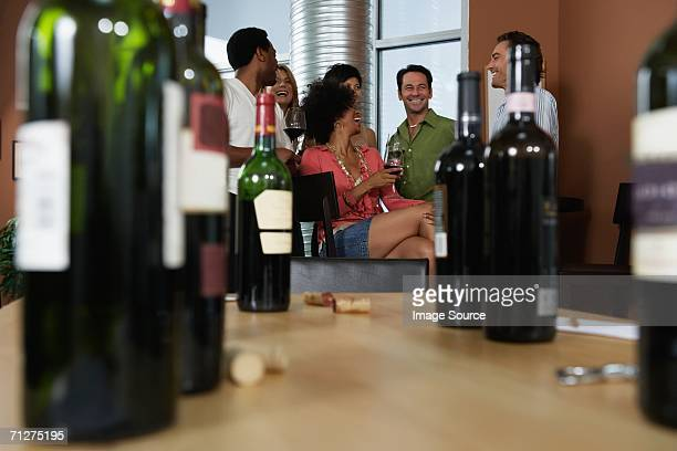Friends at a wine party