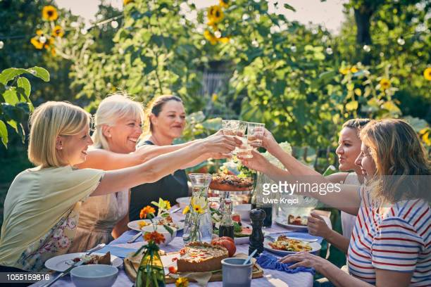 friends at garden party - the brunch stock pictures, royalty-free photos & images