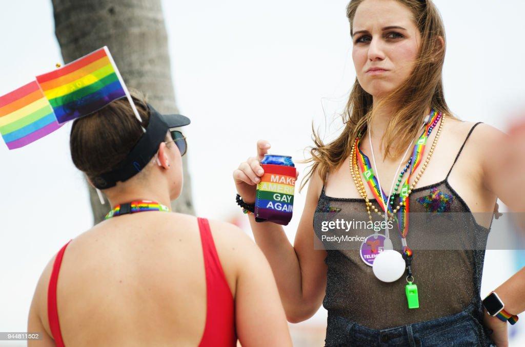 Friends at Miami Beach Gay Pride 2018 : Stock Photo