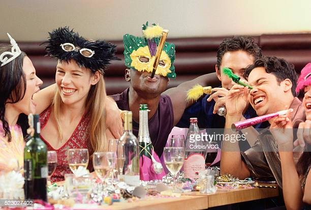 Friends at Party in Masks