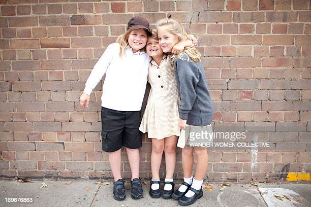 friends at school in uniform - school girl shoes stock pictures, royalty-free photos & images