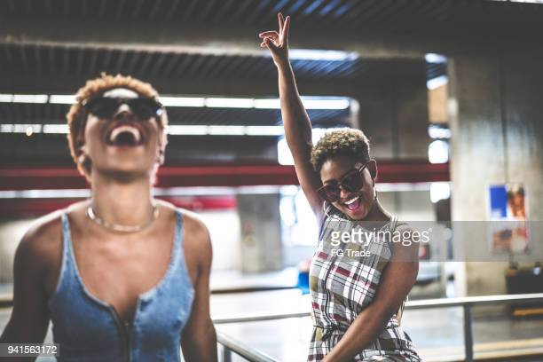 friends at subway - girl power stock pictures, royalty-free photos & images