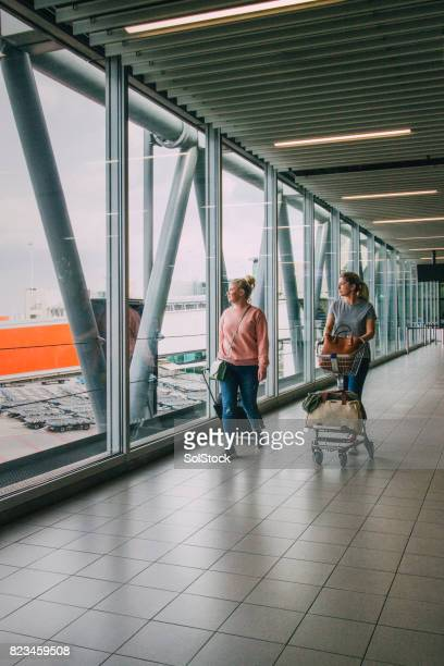 Friends At The Airport In Amsterdam