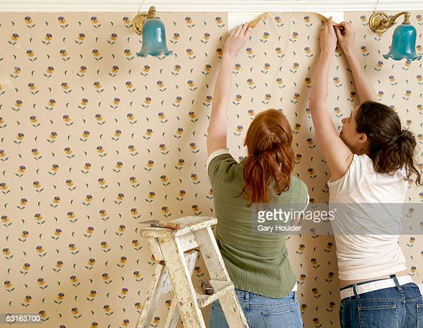 friends beginning to remove wallpaper - absence stock pictures, royalty-free photos & images