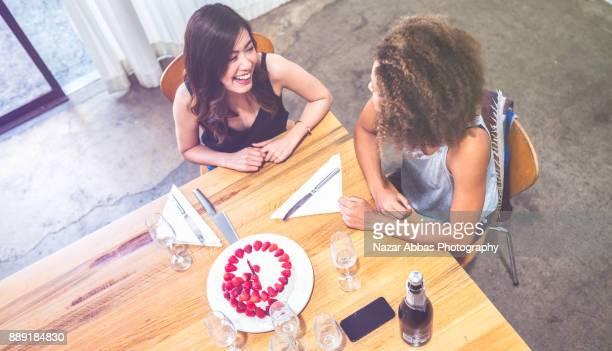 Friends birthday celebration with cake.