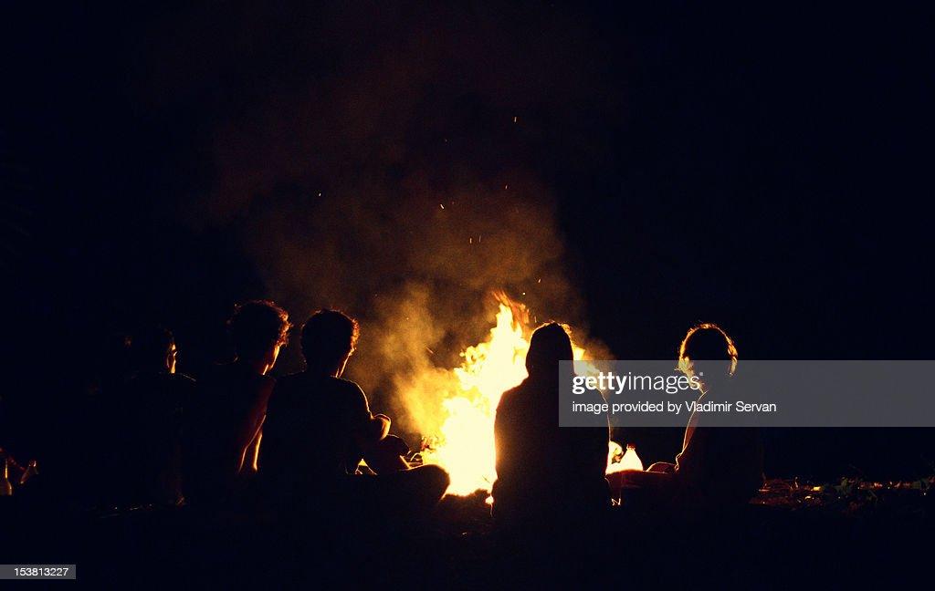 Friends by bonfire : Stock Photo
