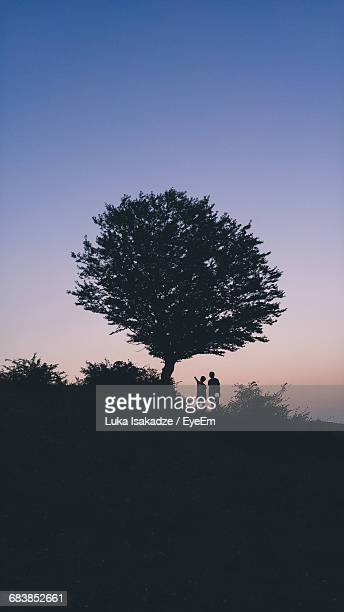 Friends By Silhouette Trees On Field During Sunset