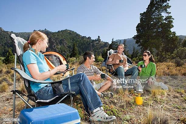Friends camping in great outdoors