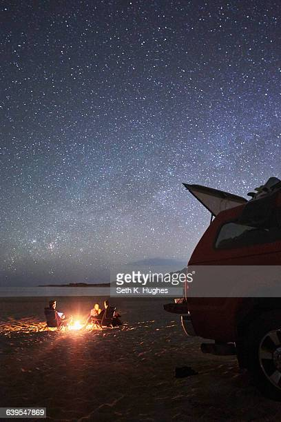 Friends camping on beach, Cabo Pulmo, California
