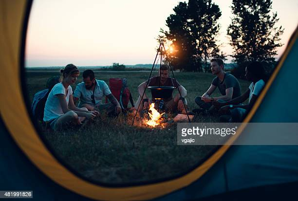 Friends camping together.