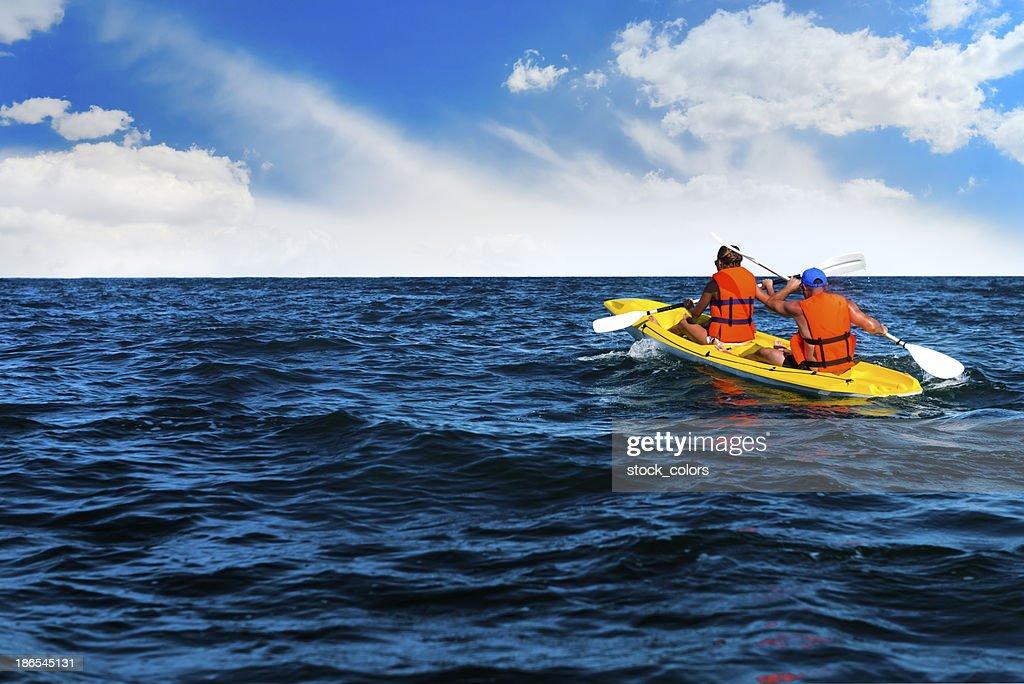 friends canoe trip : Stock Photo