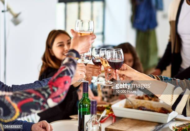 friends celebrating and toasting wine - lunch stock pictures, royalty-free photos & images