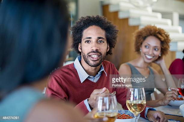 Friends celebrating at a dinner party