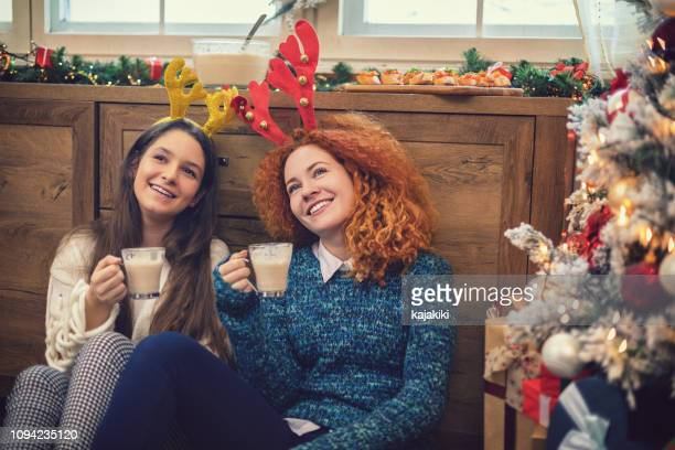 friends celebrating christmas at home - eggnog stock photos and pictures