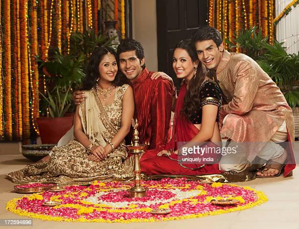 Friends celebrating Diwali
