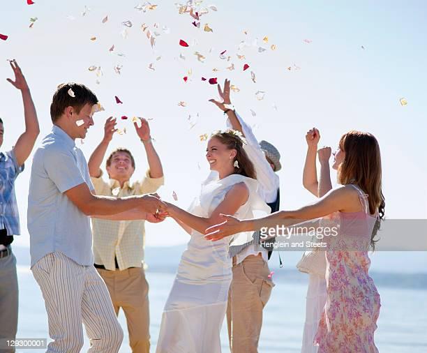 Friends celebrating newlywed couple