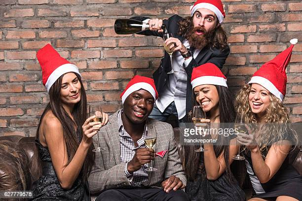 Friends celebrating the christmas
