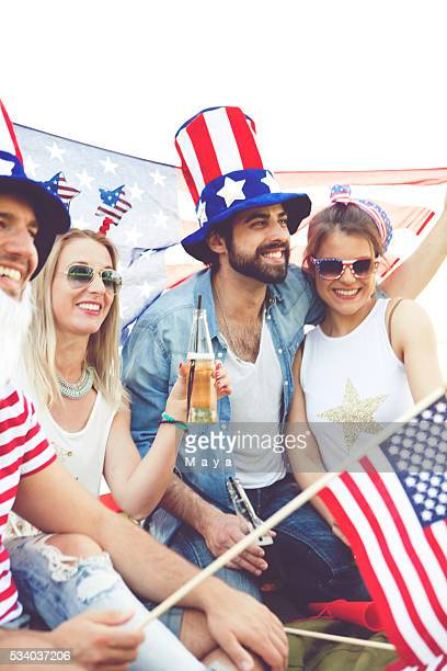 Friends celebrating US Independence Day
