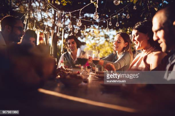 friends celebrating with wine and food at rustic countryside party - outdoor party stock pictures, royalty-free photos & images