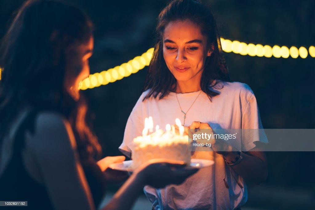 Friends celebration birthday with cake : Stock Photo
