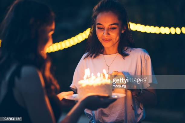 friends celebration birthday with cake - woman birthday stock pictures, royalty-free photos & images