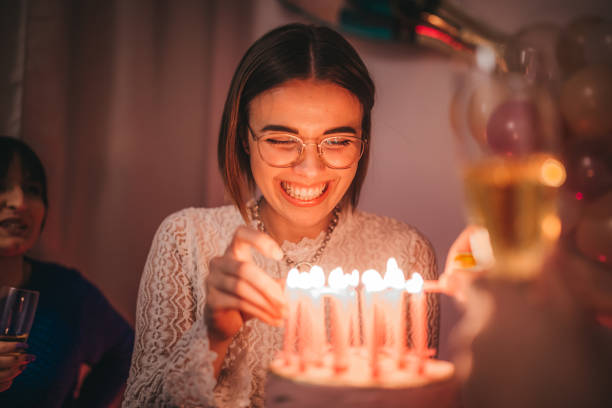 friends celebration birthday with cake - best friend birthday cake stock pictures, royalty-free photos & images