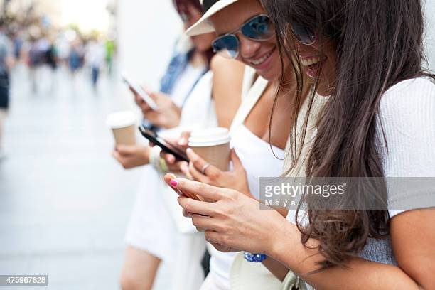 Friends checking phone
