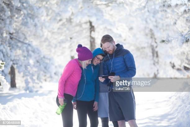 Friends checking selfie photo