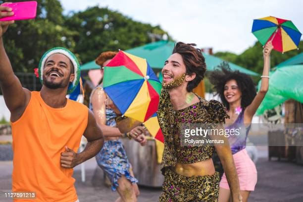 friends dancing and taking a selfie - dance troupe stock photos and pictures