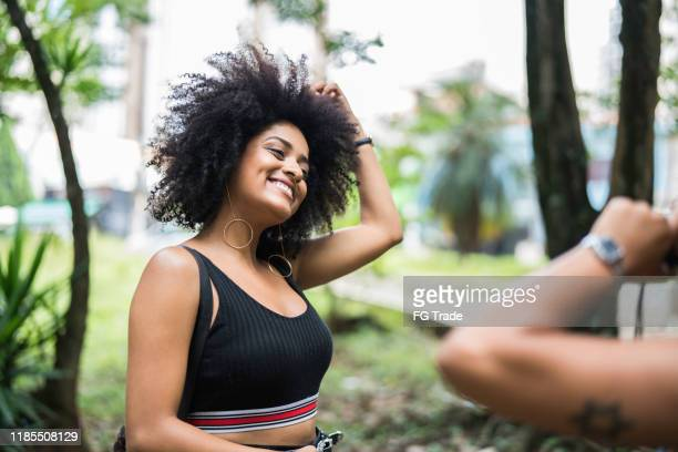 friends dancing at park - pardo brazilian stock pictures, royalty-free photos & images