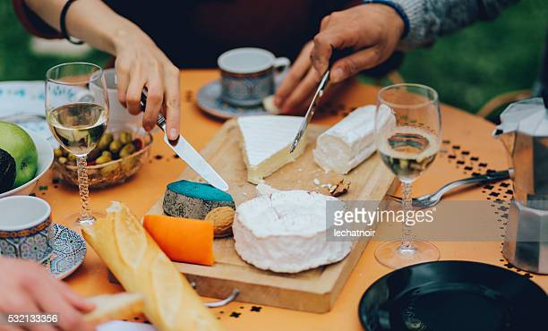 friends dining in the suburban garden of paris - cheese stock pictures, royalty-free photos & images
