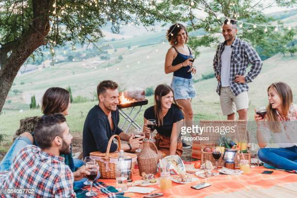 friends doing a picnic together at sunset in the countryside - picnic stock pictures, royalty-free photos & images