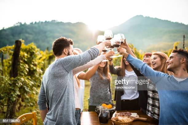 Freunde machen eine Weinprobe