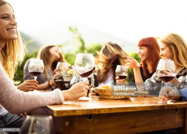 friends doing a wine tasting - ladies' night stock pictures, royalty-free photos & images