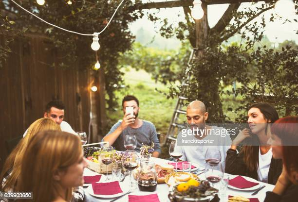 friends doing the lunch - aperitif stock photos and pictures