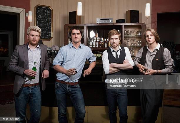 Friends drinking at bar