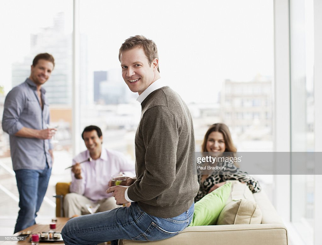 Friends drinking at urban party : Stock Photo