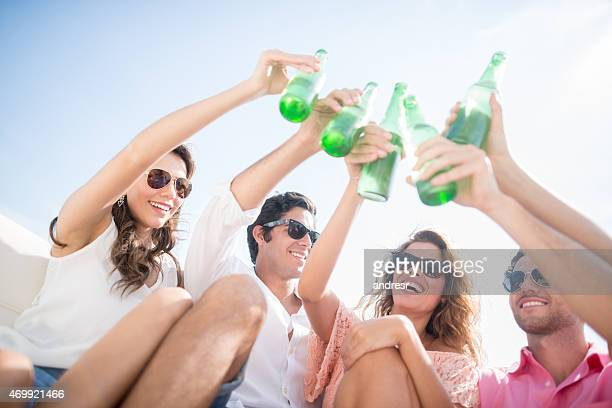 Friends drinking on their summer holidays