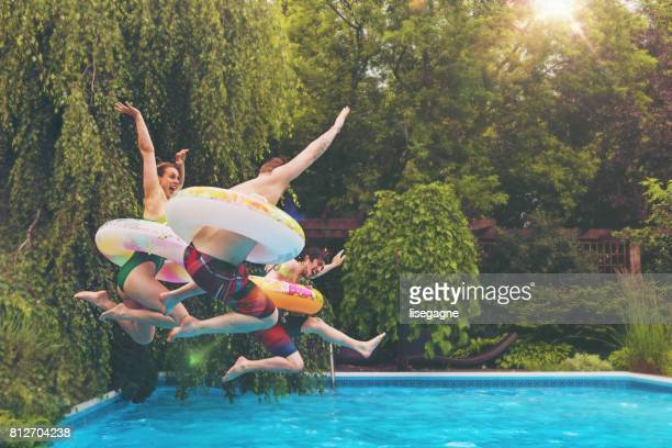 friends during a summer day - pool stock pictures, royalty-free photos & images