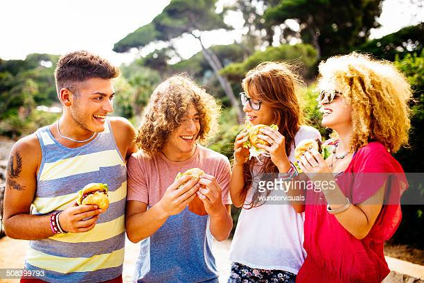 Friends Eating Burgers