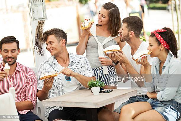 Friends Eating Waffles And Ice Creams