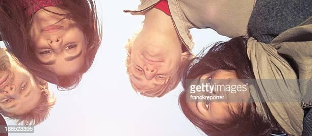 friends embraced enjoy looking down - omlaag kijken stockfoto's en -beelden