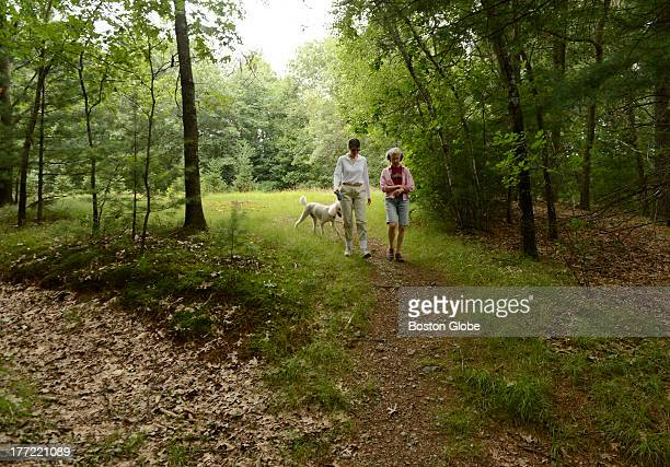 Friends Emily Hutcheson right and Laurie Bent left take a stroll in the woods near Hutcheson's Weston home on July 12 2013 along with Bent's dog...